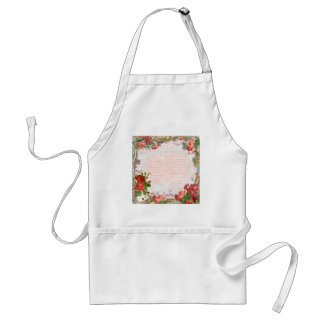 Victorian Rose French Script Writing Romantic Adult Apron