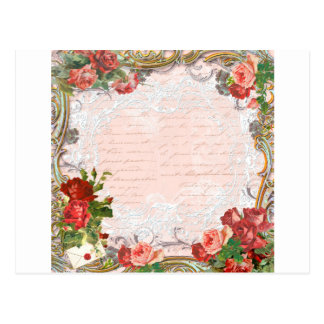 Victorian Rose French Script Writing Romantic Postcard