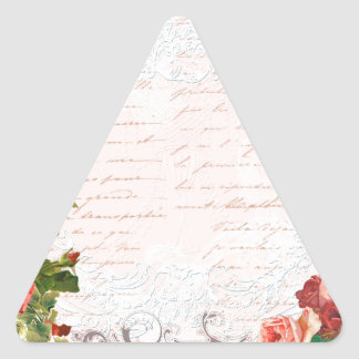 Victorian Rose French Script Writing Romantic Triangle Sticker