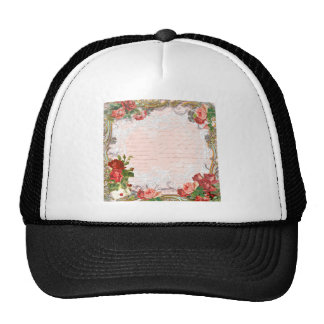 Victorian Rose French Script Writing Romantic Trucker Hat