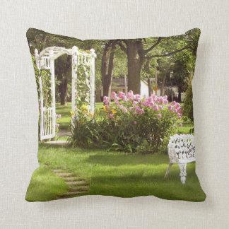 Victorian Rose Garden Arbor Throw Pillow