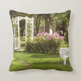 Victorian Rose Garden Arbor Throw Pillows