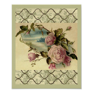 Victorian Rose Garden Gate by the Sea Poster