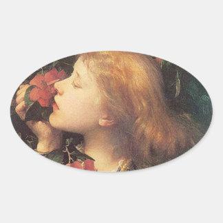 Victorian Rose Oval Oval Sticker