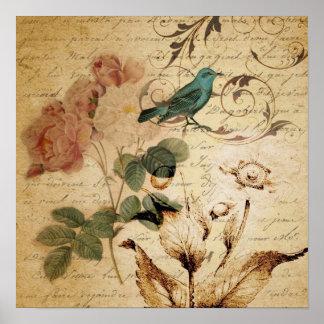 Victorian Rose Paris Scripts french bird botanical Poster