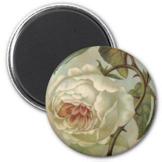 Victorian Rose Postcard Illustration 2 Inch Round Magnet