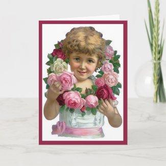 Victorian Rose Wreath Card card
