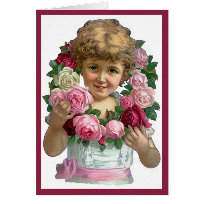 Victorian Rose Wreath Card
