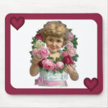 Victorian Rose Wreath Girl Mouse Pad