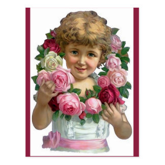 Victorian Rose Wreath Girl Postcard