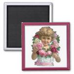 Victorian Rose Wreath Girl Refrigerator Magnets