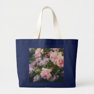 Victorian Roses and Lilacs Large Tote Bag