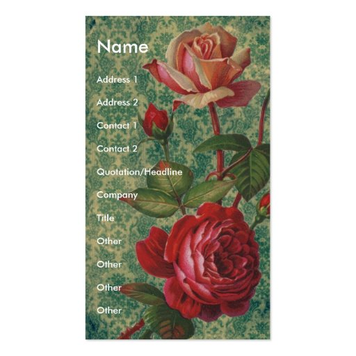 Victorian Roses Double-Sided Standard Business Cards (Pack Of 100)