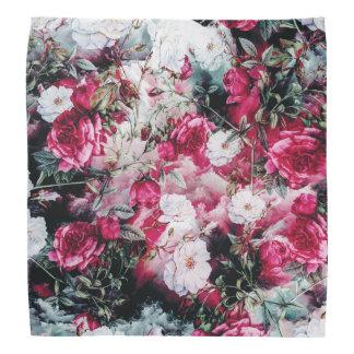 Victorian Roses Floral pink mauve white black bold Bandana