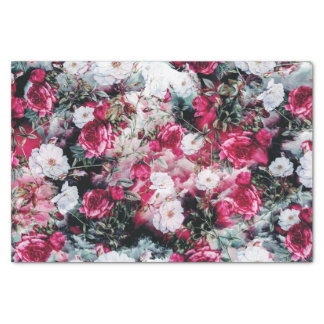 Victorian Roses Floral pink mauve white black Tissue Paper