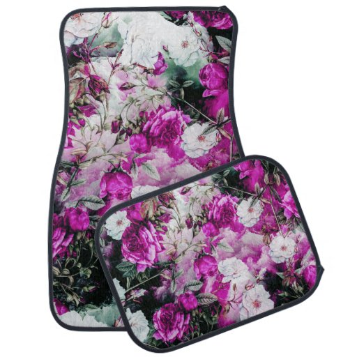 Victorian Roses Floral Pink Purple White Black Car Mat
