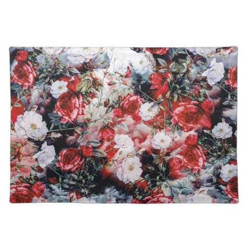 Victorian Roses Floral red white black Placemat