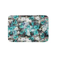 Victorian Roses Floral Turquoise Teal White Black Bath Mat at Zazzle