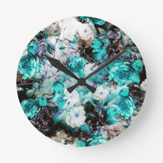 Victorian Roses Floral turquoise teal white black Round Clock