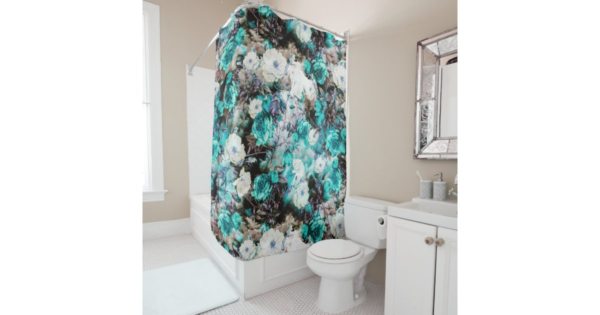 Victorian Roses Floral Turquoise Teal White Black Shower Curtain Zazzle