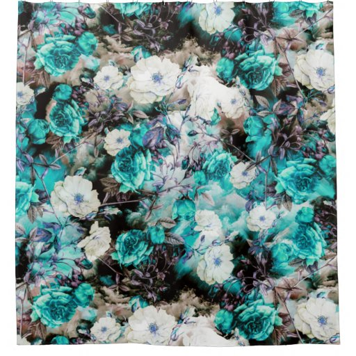Victorian Roses Floral Turquoise Teal White Black Shower