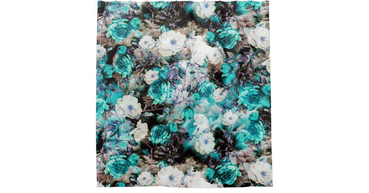 black and turquoise shower curtain. Victorian Roses Floral turquoise teal white black Shower Curtain Black And Turquoise Curtains  Zazzle