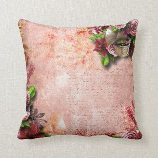 Victorian Roses gramophone love letter pink mauve Throw Pillow
