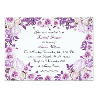 purple rose bridal shower invitations  announcements  zazzle, Bridal shower invitations