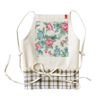 victorian,roses,shabby chic,pink,mint,teal,vintage zazzle HEART apron