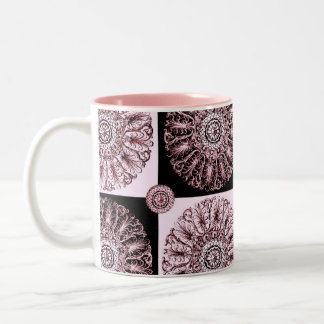 Victorian Rosette Design Pink and Black Mug