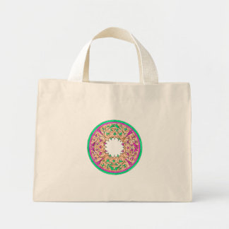 Victorian round graphic pink and green colorized bags