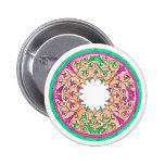 Victorian round graphic pink and green colorized pins