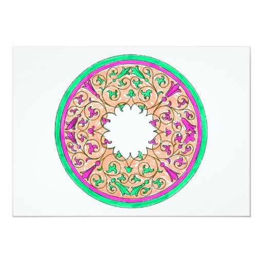 """Victorian round graphic pink and green colorized 5"""" x 7"""" invitation card"""