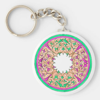 Victorian round graphic pink and green colorized basic round button keychain