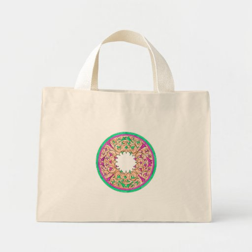 Victorian round graphic pink and green colorized mini tote bag