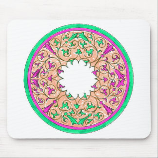 Victorian round graphic pink and green colorized mouse pad
