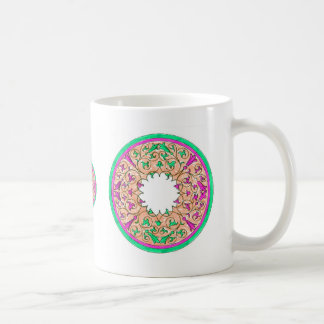Victorian round graphic pink and green colorized classic white coffee mug
