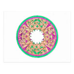 Victorian round graphic pink and green colorized postcard
