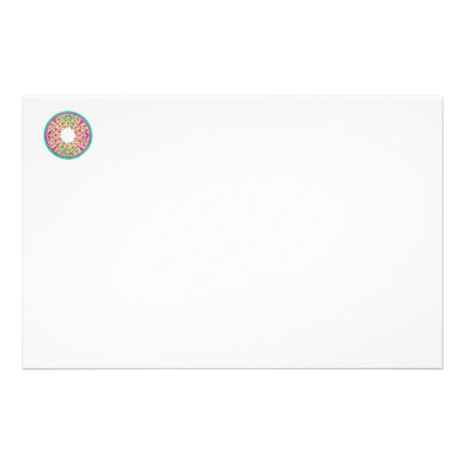 Victorian round graphic pink and green colorized custom stationery