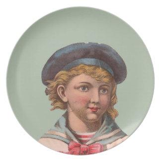 Victorian Sailor Melmac Cake Plate