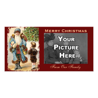 Victorian Santa and Boy Christmas Photo Card