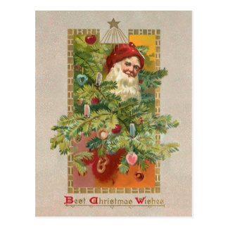 Victorian Santa and Christmas Tree Postcard