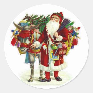 Victorian Santa and Donkey Classic Round Sticker