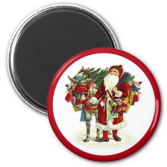 Victorian Santa and Donkey Magnet