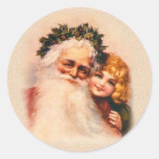 Victorian Santa and Girl Classic Round Sticker