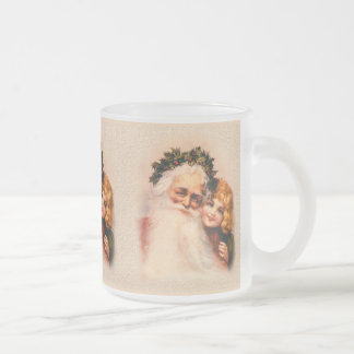 Victorian Santa and Girl Frosted Glass Coffee Mug