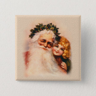 Victorian Santa and Girl Pinback Button