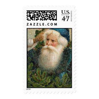 Victorian Santa Claus in Blue Pine Branches Stamp