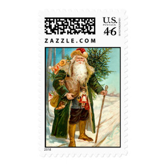 Victorian Santa Claus in Green Velvet Stamp