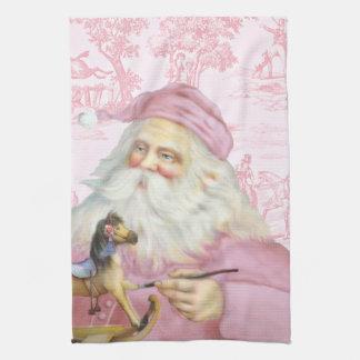 Victorian Santa Claus in Pink Toile de Juoy Hand Towel